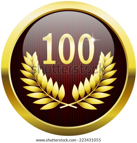 Golden anniversary button with number 100 and laurel wreath - stock photo