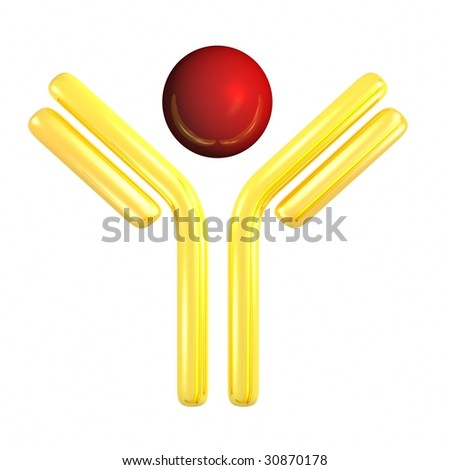golden antibody symbol with antigen for pharmacy related design - stock photo
