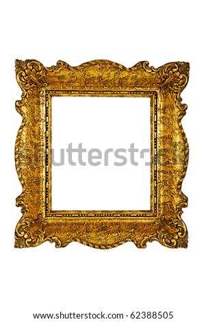 Golden antique frame - stock photo