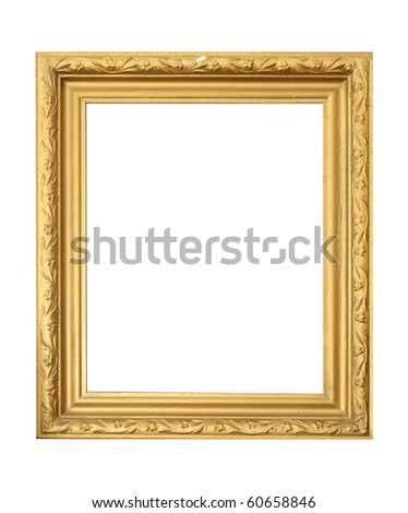 golden antique frame isolated on white background - stock photo