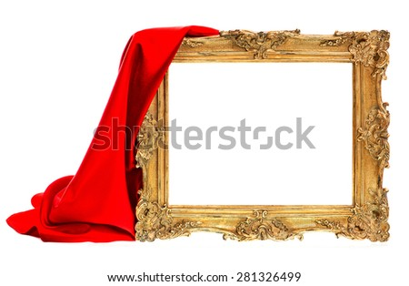 Golden antique frame with red silk decoration isolated on white background - stock photo