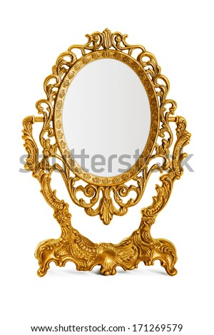 Golden antique mirror - stock photo