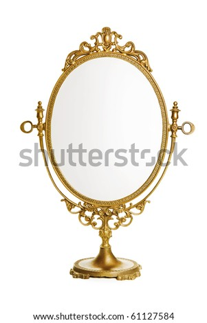 Golden antique mirror - stock photo