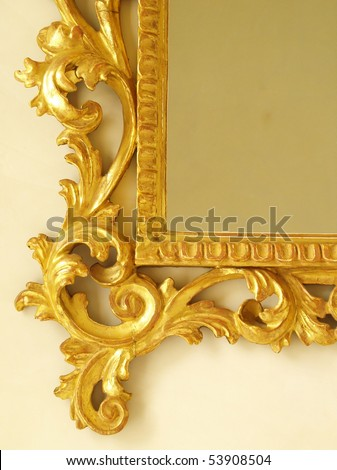 golden antique mirror frame molding - stock photo