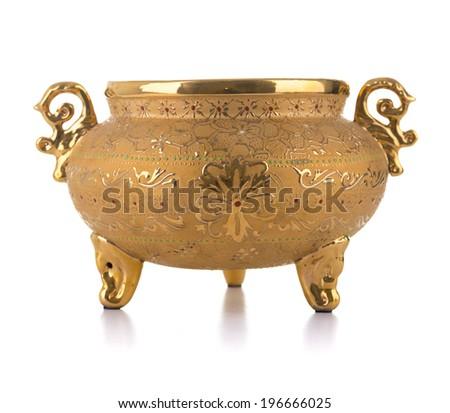 Golden Antique Pot Isolated on White Background - stock photo