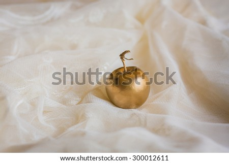 golden apple at the lace - stock photo