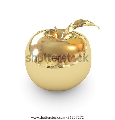 golden  apple isolated - stock photo
