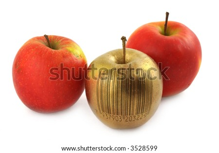 golden apple with bar code isolated on white background (bar code is fake, no copyright infringement) - stock photo