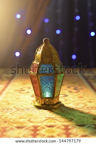 Golden arabic ramadan lamp - stock photo
