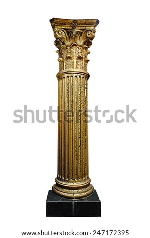 golden architectural column isolated on a white background. - stock photo