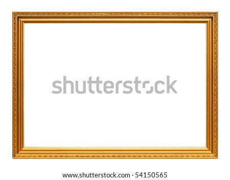 Golden art frame isolated on white background - stock photo