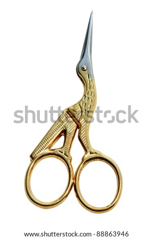 Golden Art nail sciccors isolated on the white background - stock photo