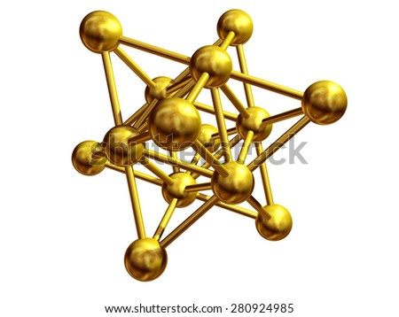 golden atomic structure, Network symbol  - stock photo