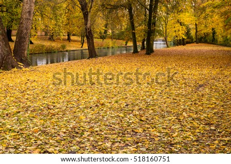 Golden autumn in Minnewater park in Bruges, Belgium