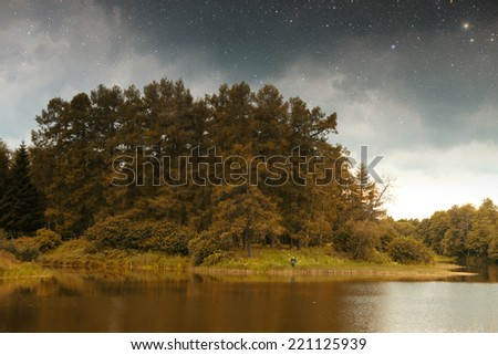 golden autumn on the lake. everything was yellow in the . Elements of this image furnished by NASA - stock photo
