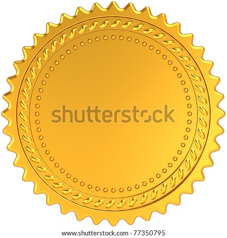 Golden award medal blank seal. Luxury champion badge label. Certificate guarantee design element template. This is a detailed CG 3d render image. Isolated on white background - stock photo