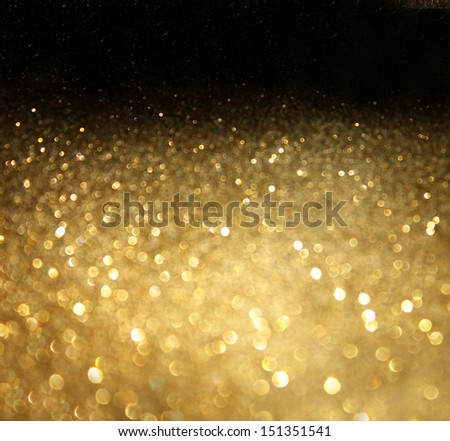 golden background of defocused abstract lights. golden bokeh lights. - stock photo