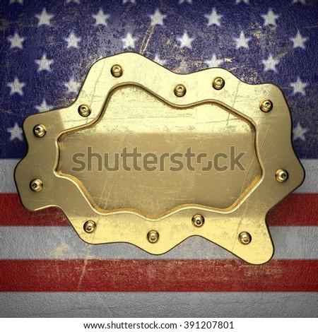 golden background painted to US flag