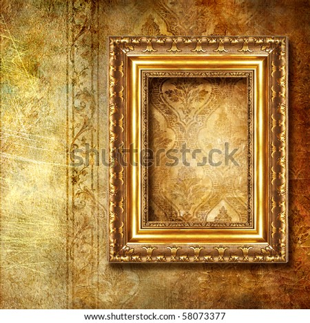 golden background with frame - stock photo