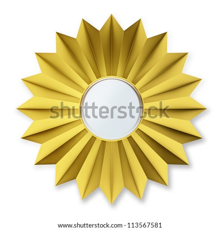Golden Badge Isolated over background - stock photo