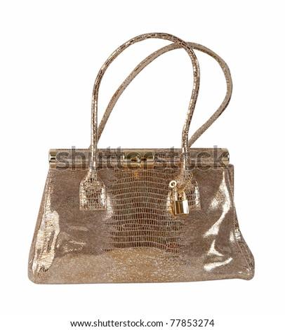 golden bag - stock photo