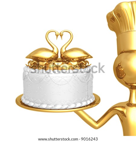 Golden Baker Serving Wedding Cake With Swans In A Heart Shape - stock photo