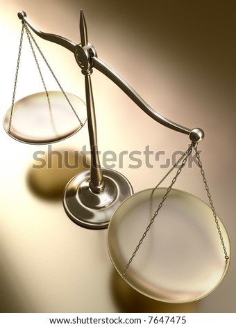 Golden balance in perspective view. - stock photo