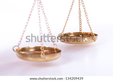 Golden balance scales of justice, isolated on white background. - stock photo