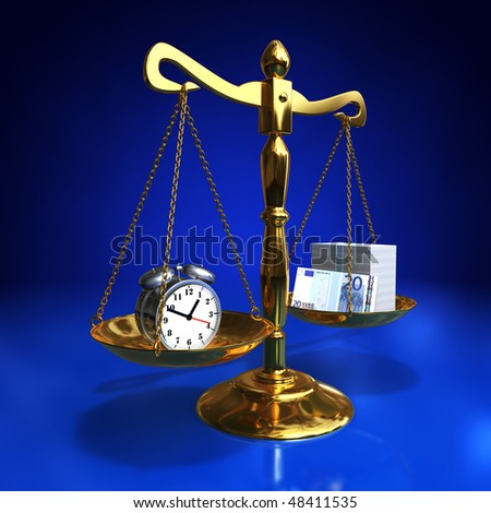 golden balance with alarm clock and roll of banknotes, Time is money concept - stock photo