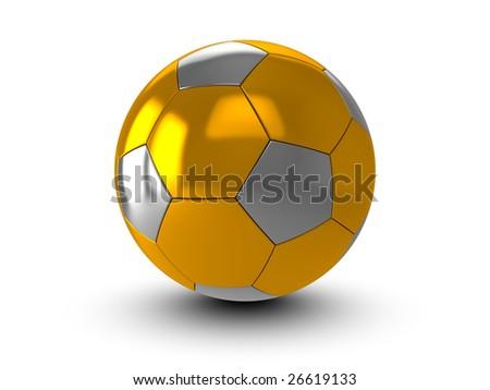 Golden ball on white background - stock photo
