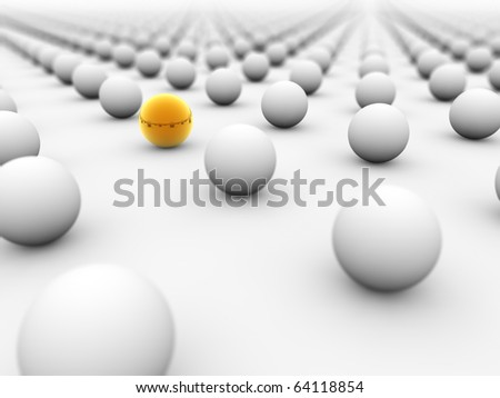 Golden ball surrounded by white ones with the focus on it. - stock photo