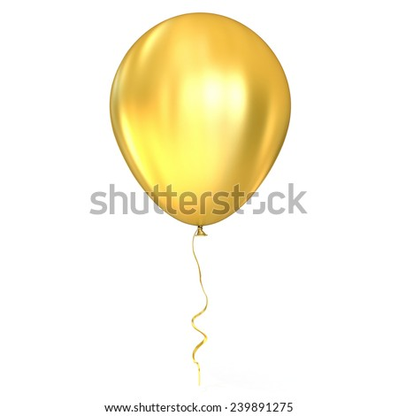 Golden balloon with ribbon, isolated on white background - stock photo