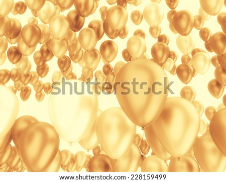 Golden Balloons Party Background  - stock photo