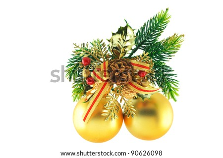 golden balls, cone spruce, fir and sprigs to decorate for Christmas against a white background - stock photo