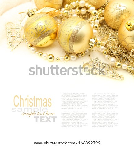 golden balls for Christmas time isolated on white - stock photo