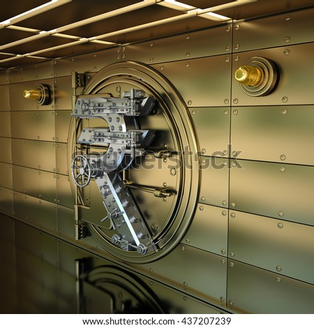 Golden Bank Vault Door. Business concept. currency Indian rupee symbol and banking safe. High resolution 3D