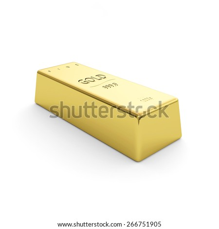 Golden bar isolated on a white background - stock photo