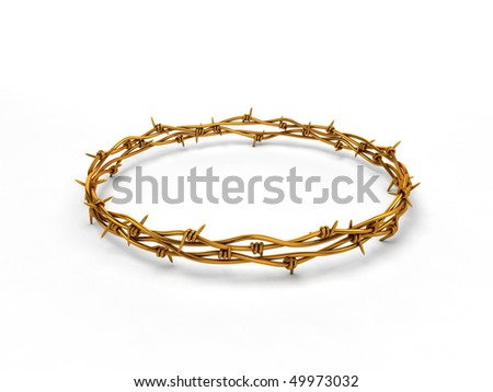 Golden barbed wire wreath on white background - stock photo