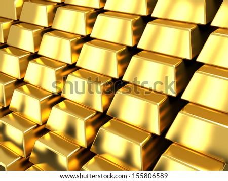 Golden bars. 3d render illustration - stock photo