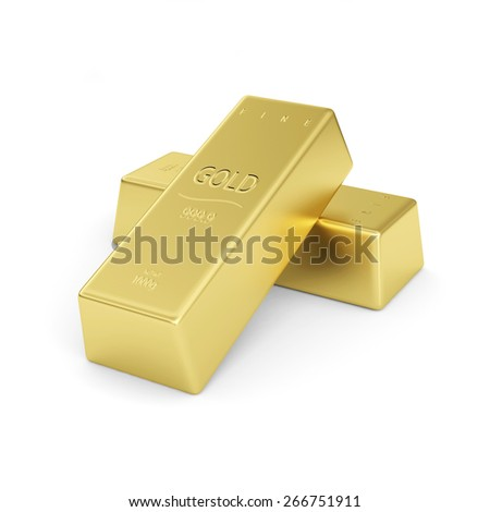 Golden bars isolated on a white background