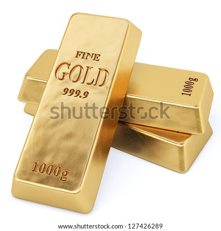 golden bars. Isolated on white. - stock photo