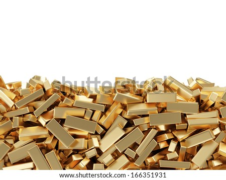Golden Bars isolated on white background with place for your text - stock photo