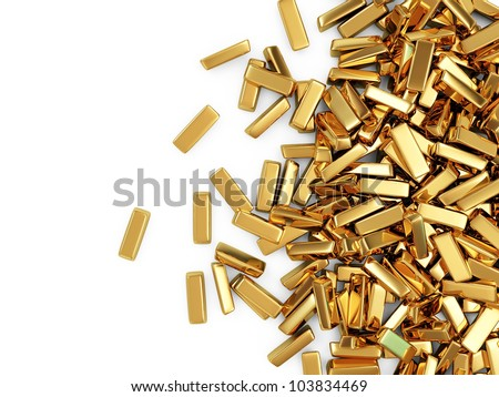 Golden Bars on white background with place for your text - stock photo