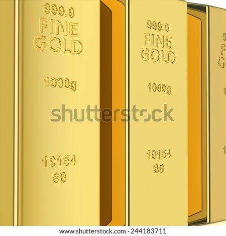 Golden bars pyramid isolated on white with reflection - stock photo