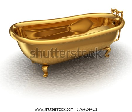 Golden bathtub 3d render isolated on a white background - stock photo