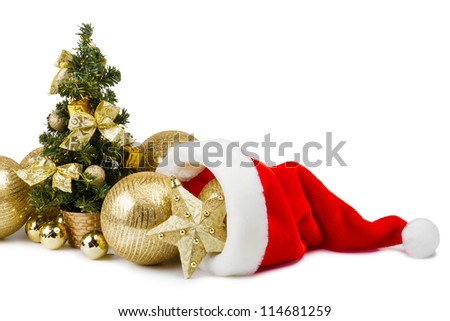 golden baubles in Santa Claus hat and Christmas tree with gifts, bows and balls on white background