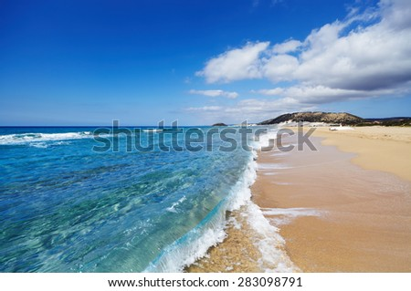 Golden Beach the best beach of Cyprus, Karpas Peninsula, North Cyprus - stock photo