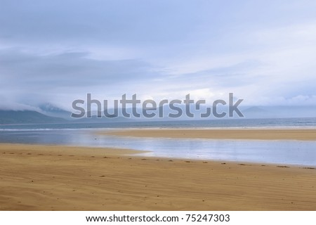 golden beach with blue sky and clouds in the maharees on the Dingle Peninsula Ireland with copy space