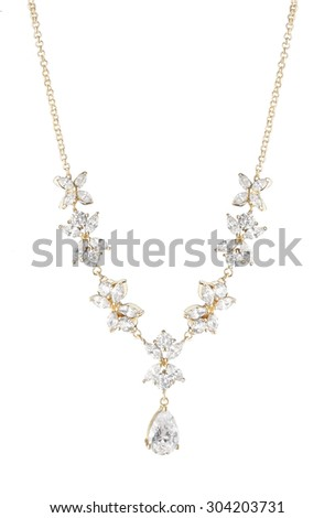 golden beautiful necklace on a white background