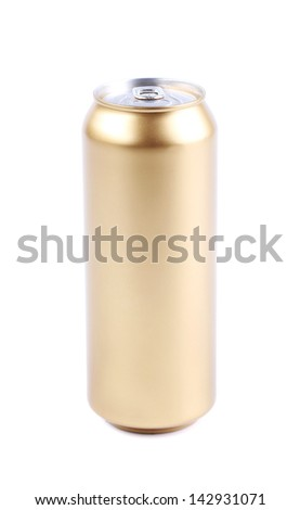 golden beer can isolated on a white background